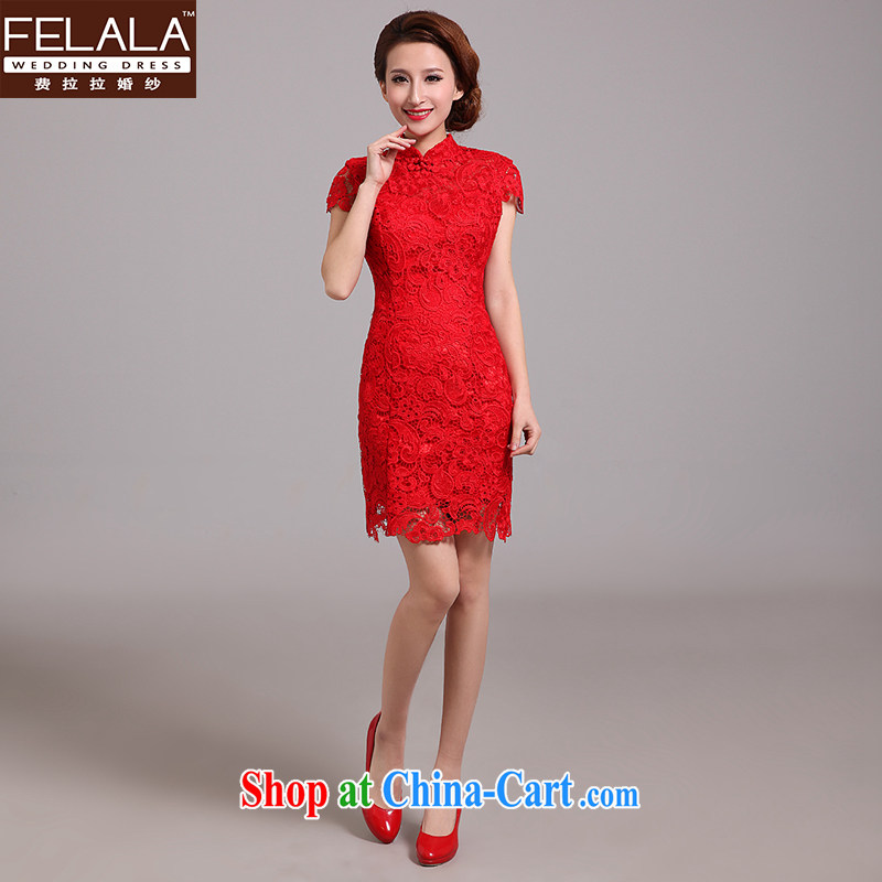 Ferrara 2015 New Red lace back exposed cheongsam red marriages improved cheongsam toast serving spring red M