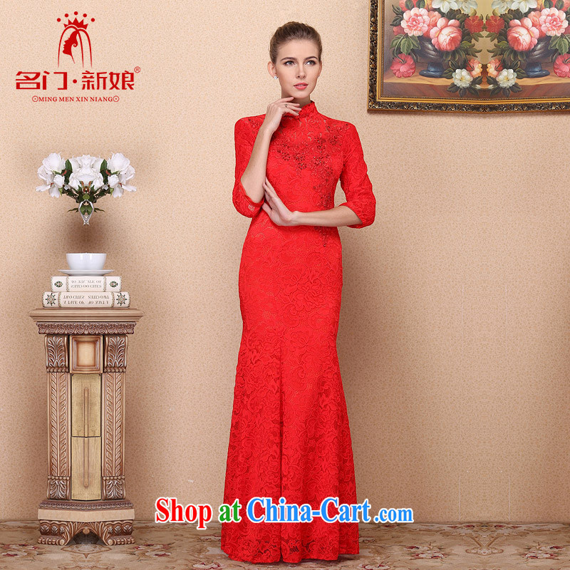 The bride's 2015 New Red bows dress lace long dress retro-tie 687 L