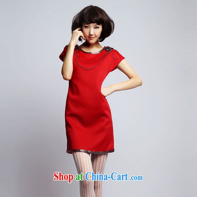Mr Mak Hee-toast clothing red bridal dresses small European and American big nails Pearl dress uniform toast bridesmaid beauty with dress Evening Dress red XL/170