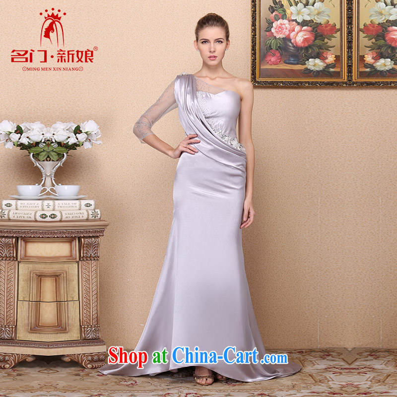 The bride 2015 stylish and elegant dress single shoulder tail dress banquet dress drill 696 L