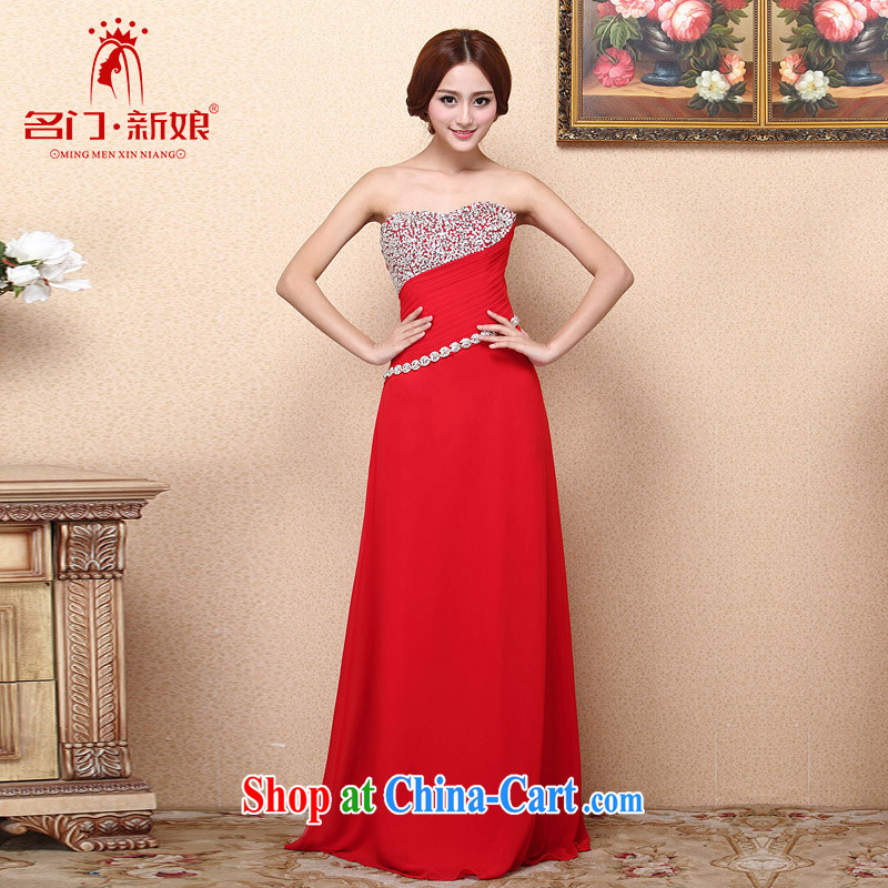 The bride 2015 New Red dress bows dress long dress luxurious drill 684 L