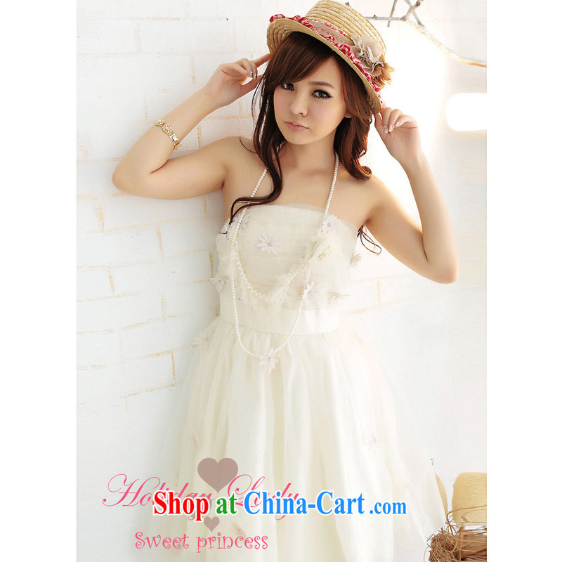 Shallow end (QIAN MO) dress sweet Princess embroidery Sun Flower shaggy candle dress bridesmaid sister with short, 2260 apricot L