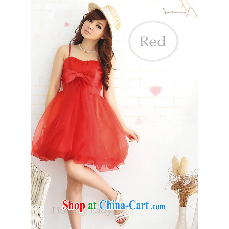 Shallow end (QIAN MO) Air sweet Princess fashion party shaggy small dress dress bridesmaid dress 2261 red L