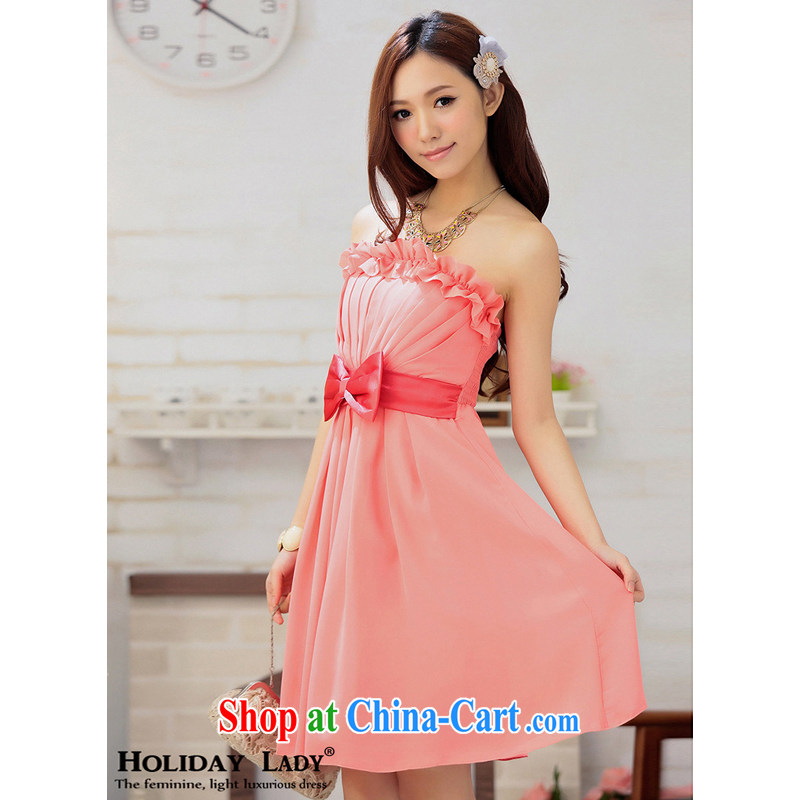 Light _at the end QIAN MO_ US chest three-dimensional bow-tie elegant short the appointment reception dress dress 2296 new color watermelon red L