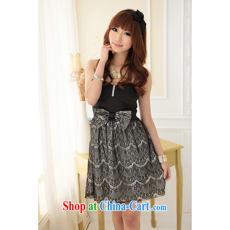 Shallow end (QIAN MO) supply fertilizer, XL short dress graphics thin thick fat wrapped chest dress bow tie lace small dress 2319 apricot L