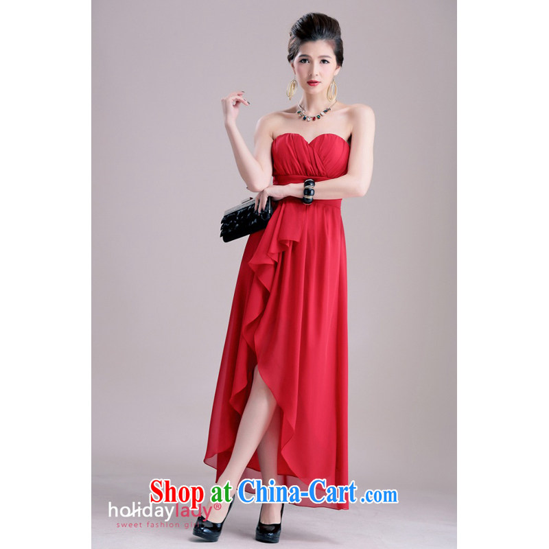 Shallow end (QIAN MO) Elegant style chest draw wrinkles on cultivating the truck long small dress dinner dress 2383 red XL