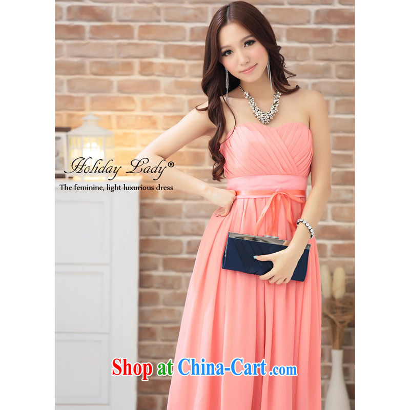 Shallow end _QIAN MO_ sweet chest pinch wrapped chest dress dress dress evening dress 2292 new color rose red L
