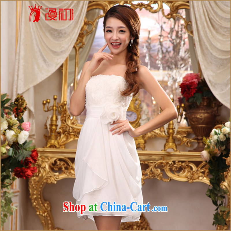 Early definition 2015 new small dress bridesmaid toast service dress uniforms bridal gown dress short white M