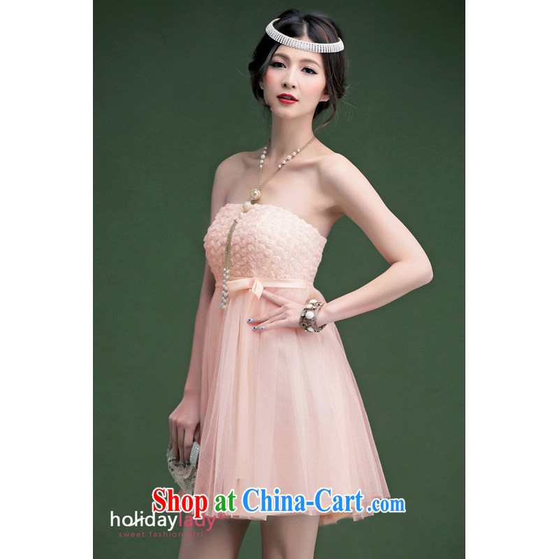 Light (at the end QIAN MO) 2014, elegant small rose lace take Korean-style short dress dress bridesmaid dresses small 236 pink L
