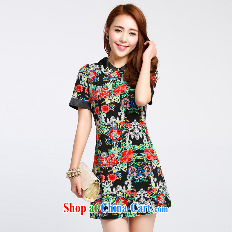 Stylish 1000 a summer new embroidered dresses 100 cultivating a solid skirt stylish small dress S 011,337 black XL
