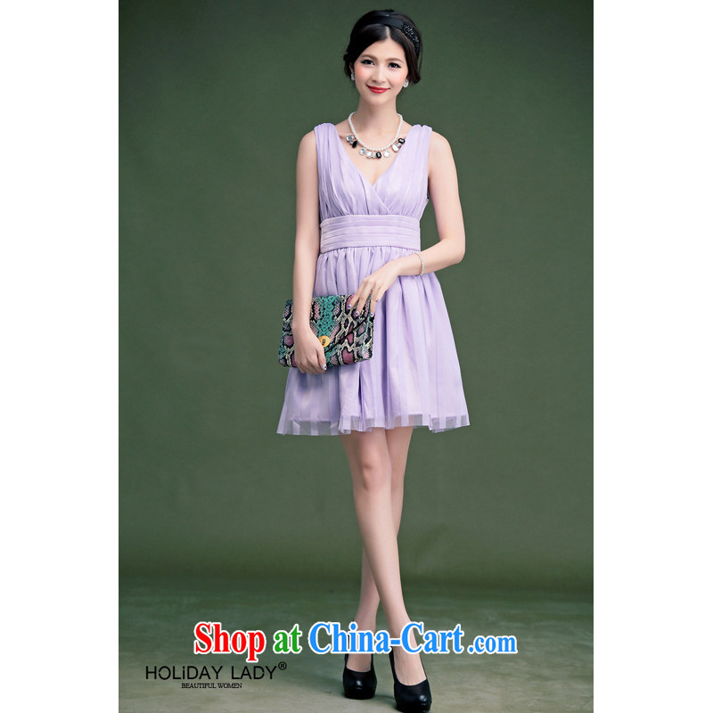 Light (at the end QIAN MO) 2014 spring and summer, before and after feeling deep V elegant rear tie bowtie beauty dress dresses small dress 601 purple XL