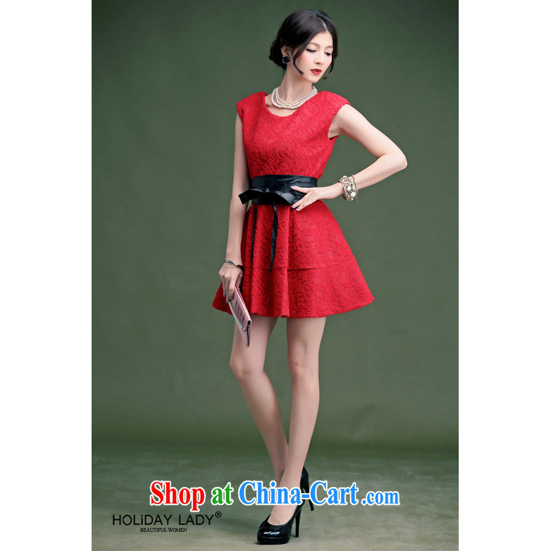 Light (at the end QIAN MO) 2014 spring and summer elegant lace knocked color belt beauty back door dress uniform toast dress 800 red XL