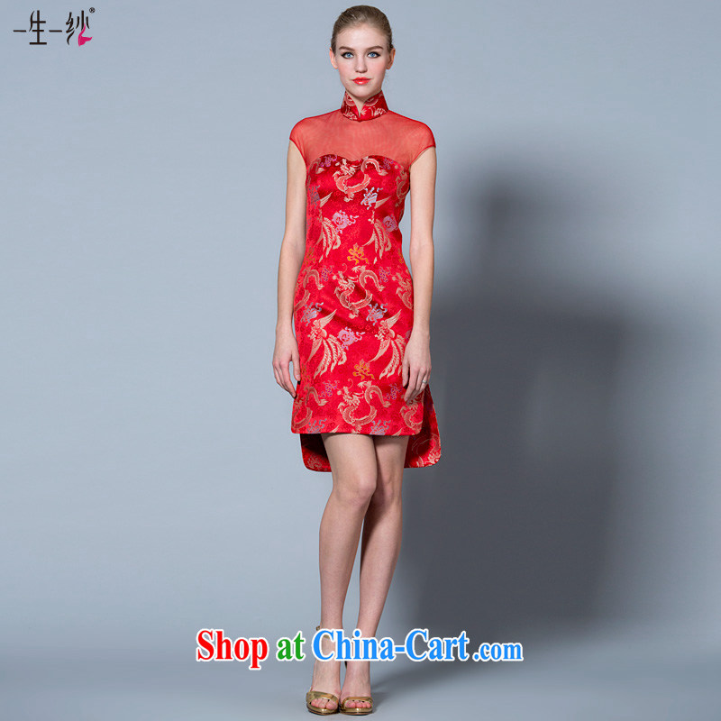 A yarn 2015 new toast serving short Chinese, leading short long Satin wedding dresses 40221045 red XXL code 20 days pre-sale
