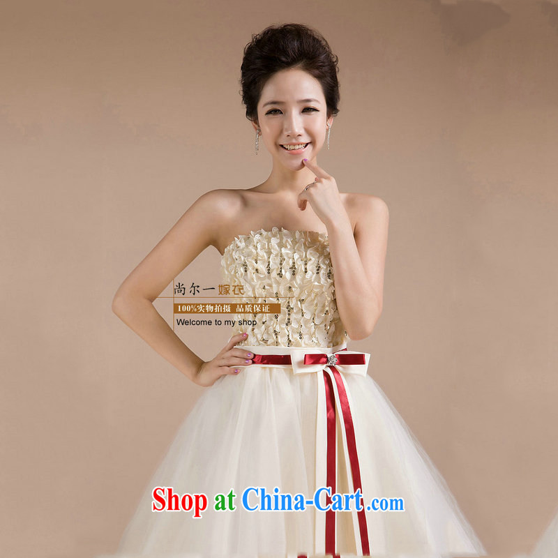 There is a bride's wedding dress red bowtie short chest bare bows service bridesmaid evening gown new small dress XS 587 white XXL
