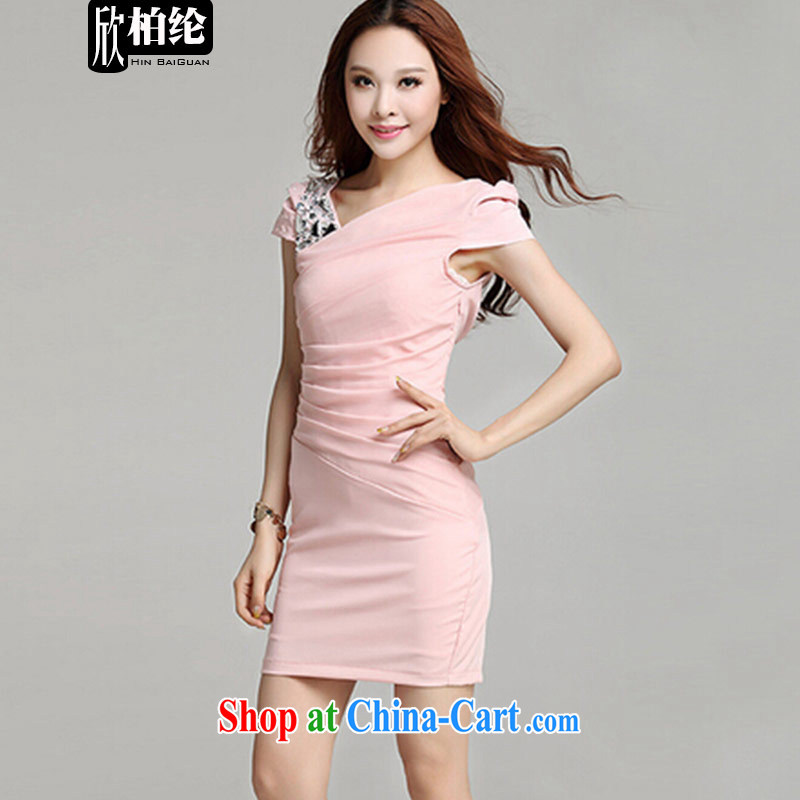 Yan Po Lun 2015 summer New Sau San shoulders nails light drill dress dresses female B 1183 pink XL