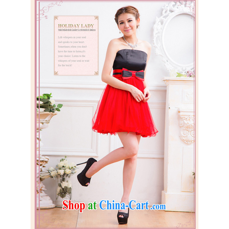 Shallow end (QIAN MO) Korean dress sweet Princess wrapped chest banquet butterfly netting yarn shaggy dress dress dress 2311 red XL