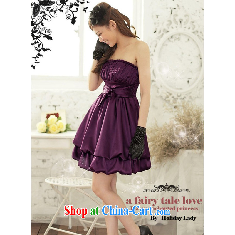 Light _at the end QIAN MO_ Moderator dinner dress with dress Korean Princess shaggy dress small dress 2211 purple L