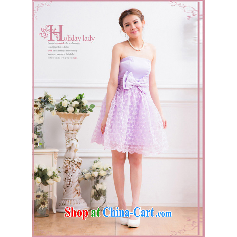 Light _at the end QIAN MO_ Korean dress bridesmaid dresses banquet Princess small dress the dress code 2315 violet are code
