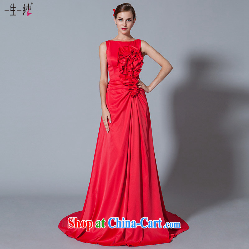A yarn wedding dresses 2015 new chest lumbar disc take small tail bridal dresses serving toast red 30250903 red XXL code 20 days pre-sale