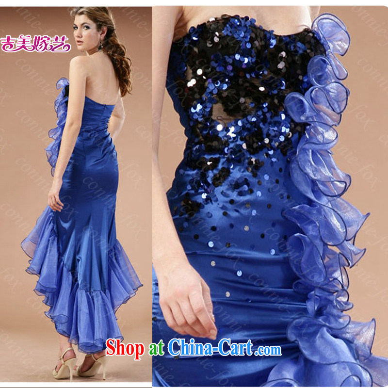 wedding dresses, marry us performing arts 2015 new erase chest Korean Blue Front short long LS 043 bridal gown blue XL