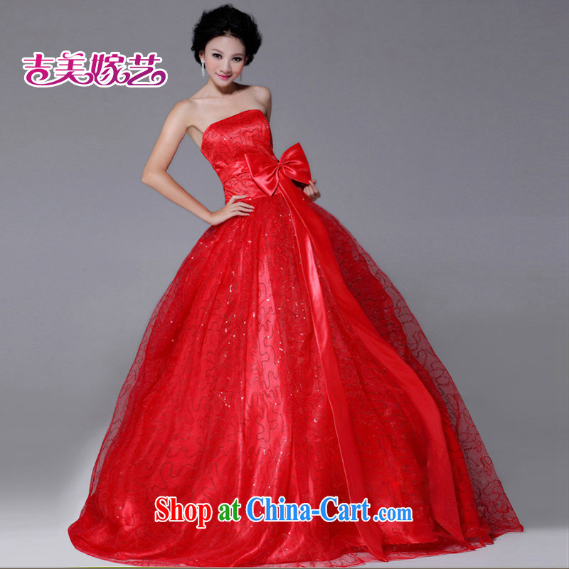 wedding dresses Jimmy married arts new Korean Princess dress LS 240 wiped his chest, bridal dresses red XS
