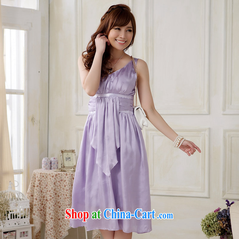 Light _at the end QIAN MO_ gathered in Europe package chest sexy evening dress emulation, elegant large code dress in dress dresses light purple XL