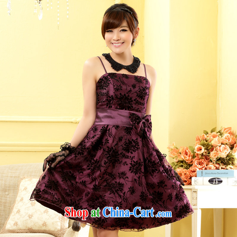 Light _at the end QIAN MO_ standard flocking dress Beauty Fashion the chest Princess sister small dress dresses purple XXXL
