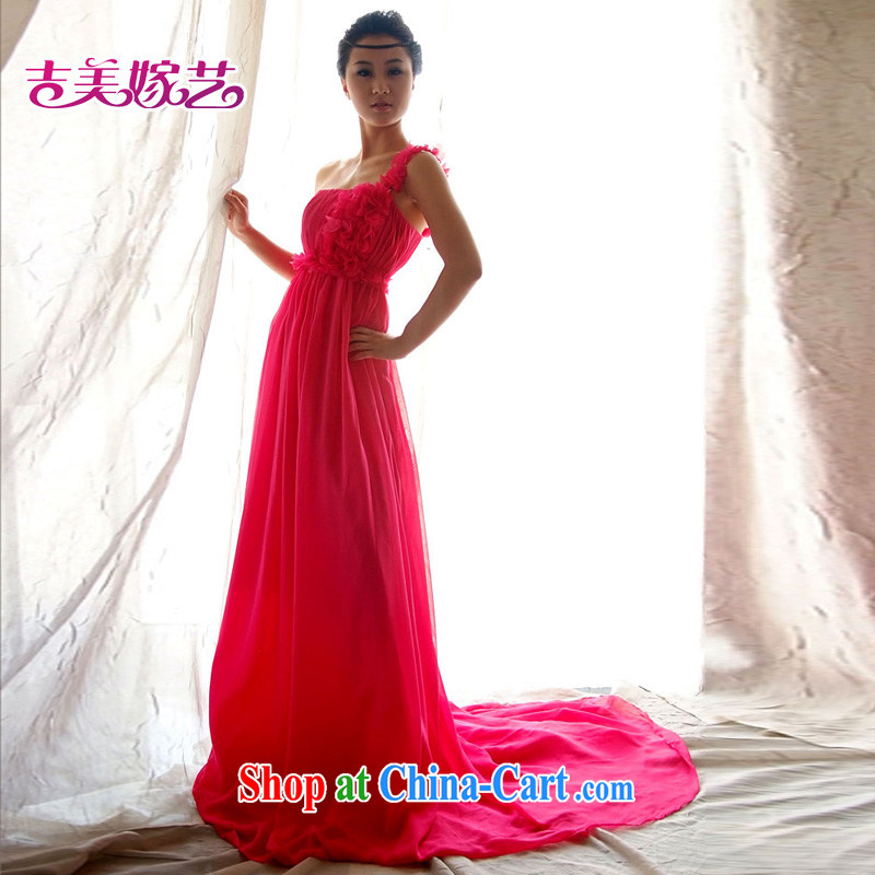 wedding dresses Jimmy married arts 2015 new single shoulder Korean Red Beauty fall LS 199 bridal gown red XL