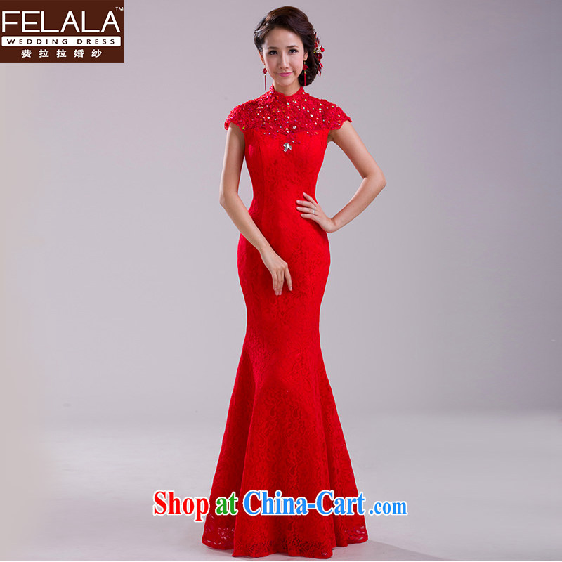 Ferrara 2015 new large red retro lace bridal toast serving the waist crowsfoot long evening dress skirt XL Suzhou shipping