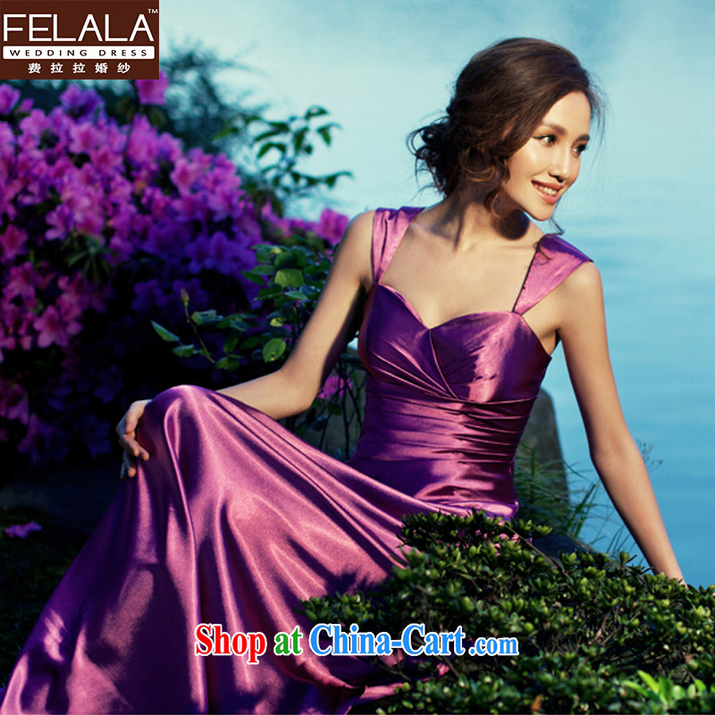 Ferrara temperament purple Evening Dress long bridal wedding dresses toast moderator dinner dress with XL Suzhou shipping