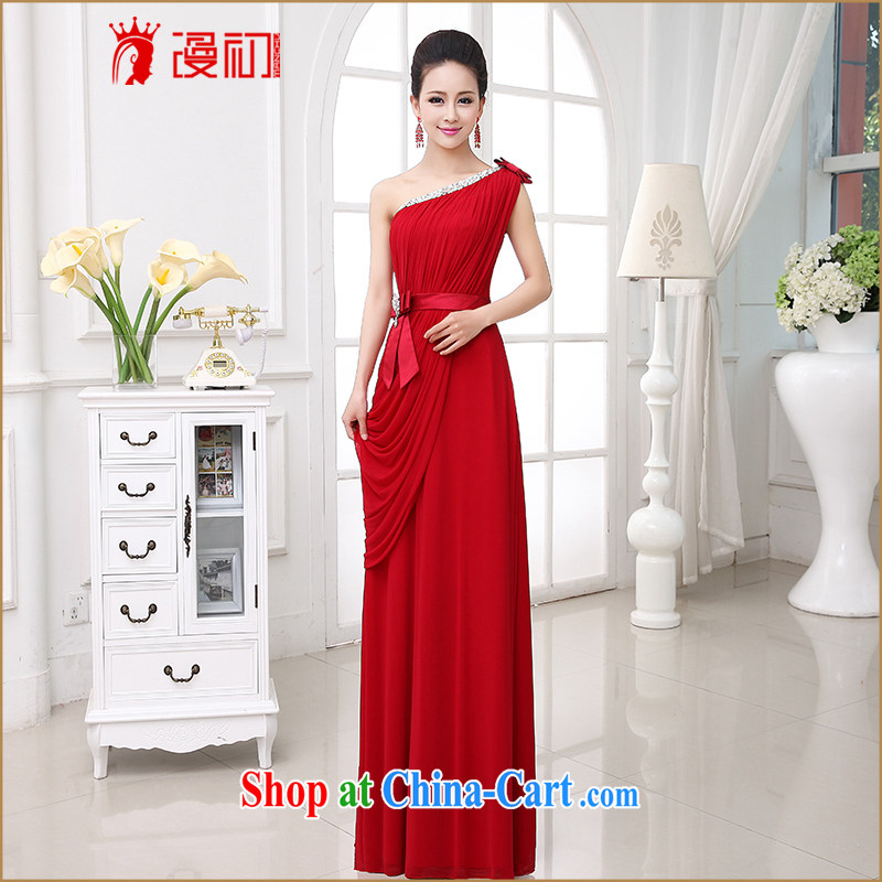 Early definition wedding dresses new 2015 wedding banquet toast serving Korean single shoulder bow tie long length dress female dark red made the $30 does not support return