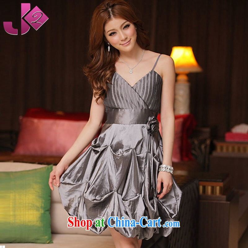 JK 2. YY summer New Name Yuan temperament sweet straps small dress dress V for hanging lanterns with a skirt bridesmaid clothing gray 3 XL 175 recommendations about Jack