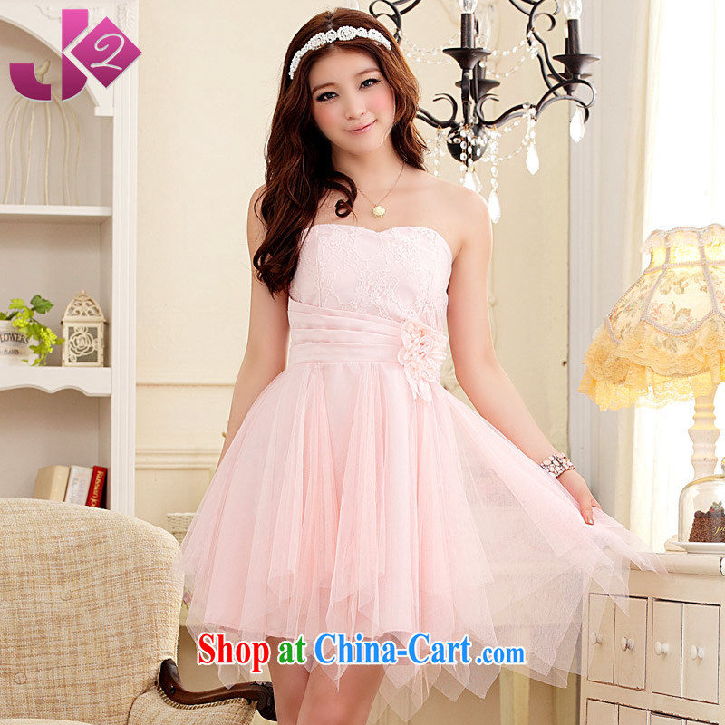 JK 2. YY sweet bridesmaid dress girl short compact flowers erase chest dress code the dress Korean autumn with the FAT and pink 3XL 165 recommendations about Jack