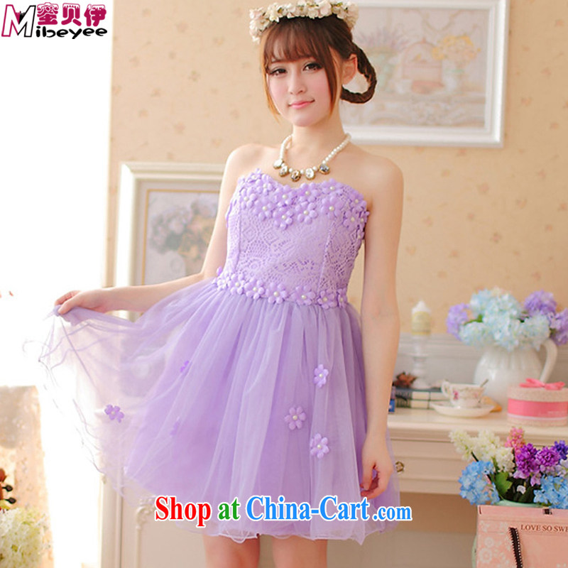 Honey, Addis Ababa three-dimensional small flowers toast clothing Evening Dress wiped chest dress evening dress dress Princess dress short evening show hosted performances adult ceremony purple