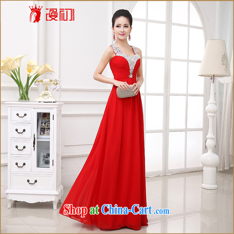 Early animated evening dress 2015 new Bridal Fashion red toast Ms. serving marriage double-shoulder-length dresses, red S