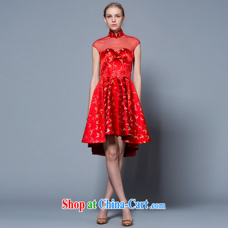 A yarn wedding dresses 2015 new bag shoulder cultivating Chinese qipao bridal toast serving red 40221048 red XXL code 20 days pre-sale