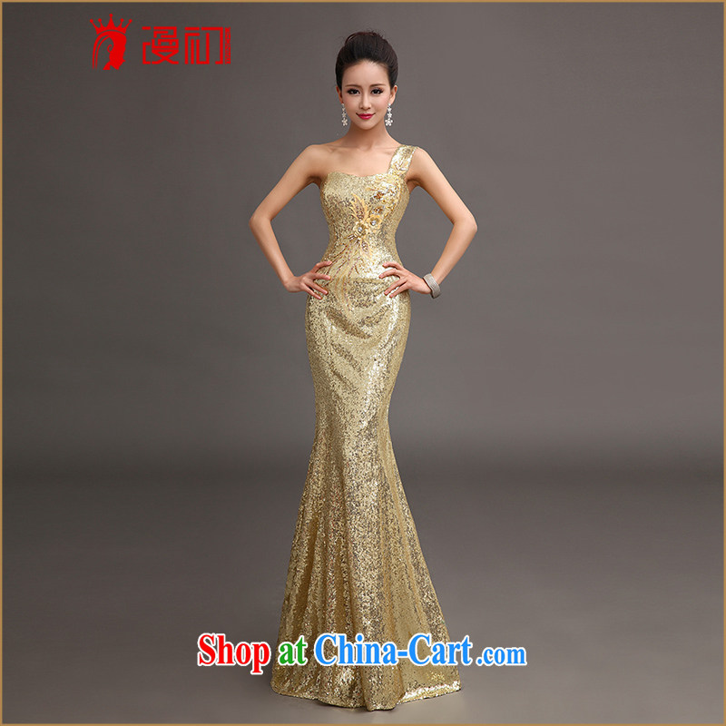 Early SPREAD THE SHOULDER Evening Dress 2015 new toast service luxury, long dresses at Merlion moderator performance service light gold with L paragraph