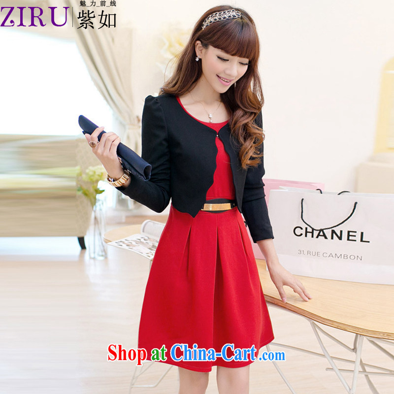First and foremost as ZIRU Korean version 2014 spring and summer with new female Two-piece beauty sweet long-sleeved marriages back door dress ZR 9111 black jacket red skirts XXL