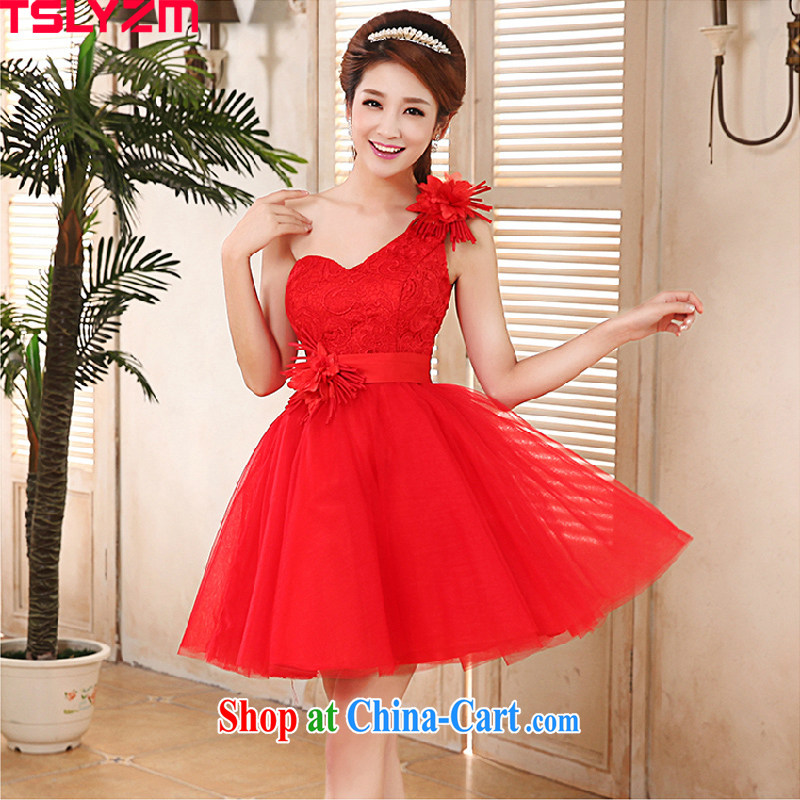 Angel, Mrs Carrie Yau, 2015 in accordance with new bride wedding dress red lace beauty graphics thin short, small dress uniforms, shoulder bridal toast serving bowtie short red XL