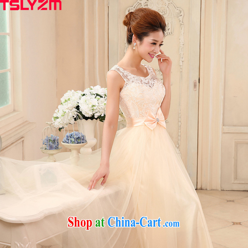 The angels, according to brides wedding dresses 2015 new dress uniform toasting champagne color bridesmaid dress a Field shoulder lace bridesmaid clothing Evening Dress long evening dress champagne color XL