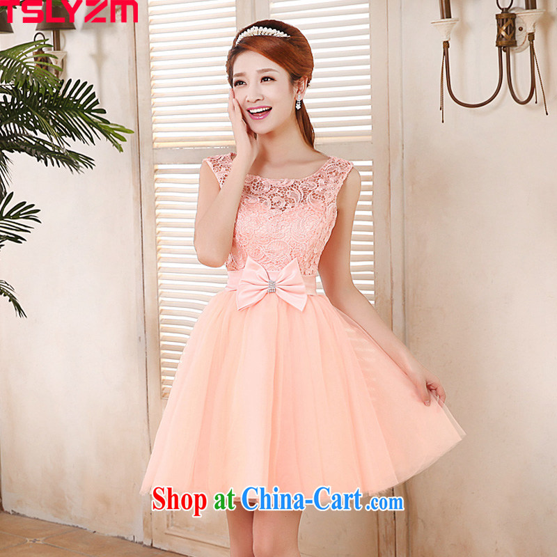 Korean edition 2015 New Evening Dress bridesmaid dress package shoulder lace short bridesmaid sisters served as 2 Princess bride bridesmaid dress toast dinner serving larger graphics thin pink XL
