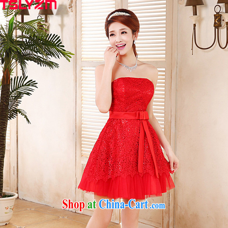 The angels, in short, his chest bare lace bridesmaid service marriages red bows dress 2015 new strap butterfly Openwork embroidery lace the wedding dress red S