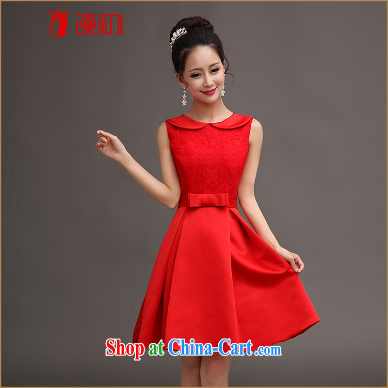 Early definition 2015 New Field shoulder lace Evening Dress short small dress uniforms red bridesmaid clothing red S
