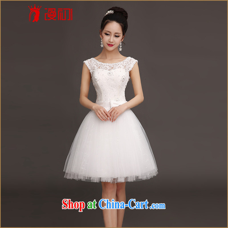 Early definition 2015 new bridesmaid dress double-shoulder lace white short maiden honey sister dress Korean Beauty small dress white S
