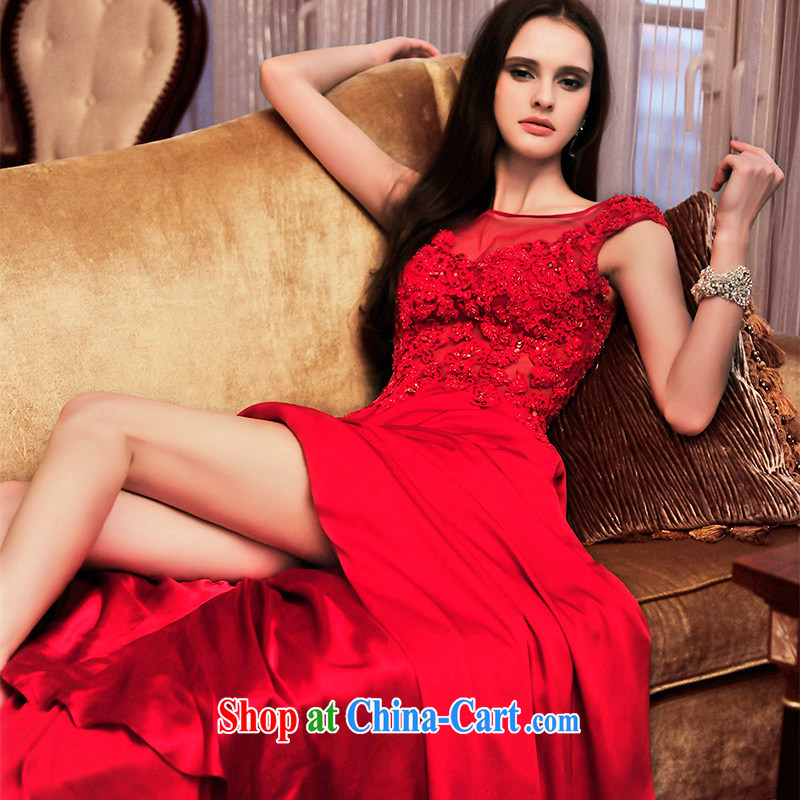 Garden 2015 new bridal gown red bows service spring evening dress long shoulder lace dress L 21,473 red 165 - M