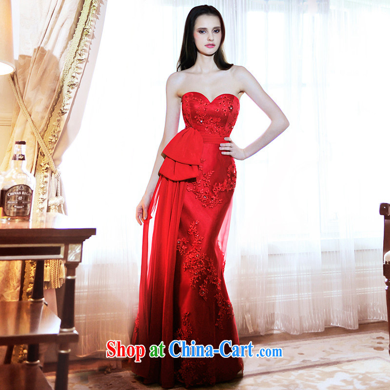 2015 new wedding dresses bridal wedding erase chest small crowsfoot red bows long evening dress L 21,466 red tailored