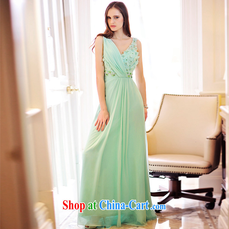 Garden 2015 new drape dress uniform toast V collar long bridal wedding dress L 21,499 green tailored