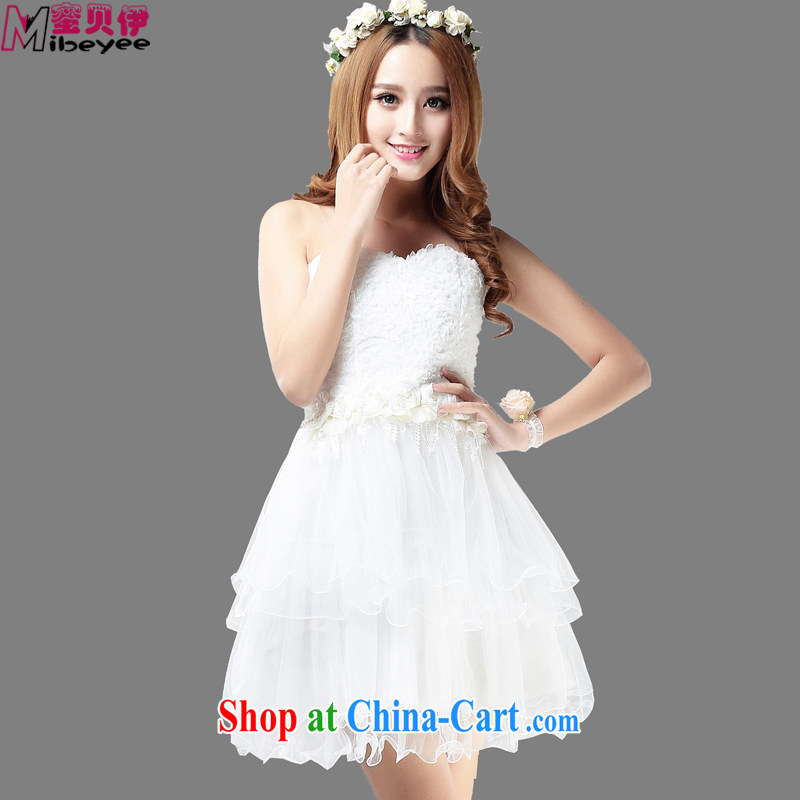 Honey, Addis Ababa new sweet Princess waist three-dimensional snow woven flowers toast clothing Evening Dress wiped chest dress evening dress dress Princess dress bridesmaid dress white