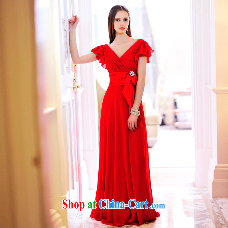 Garden MTF 2015 spring and summer New red V collar marriages dresses flying cuff toast L serving 21,478 red tailored