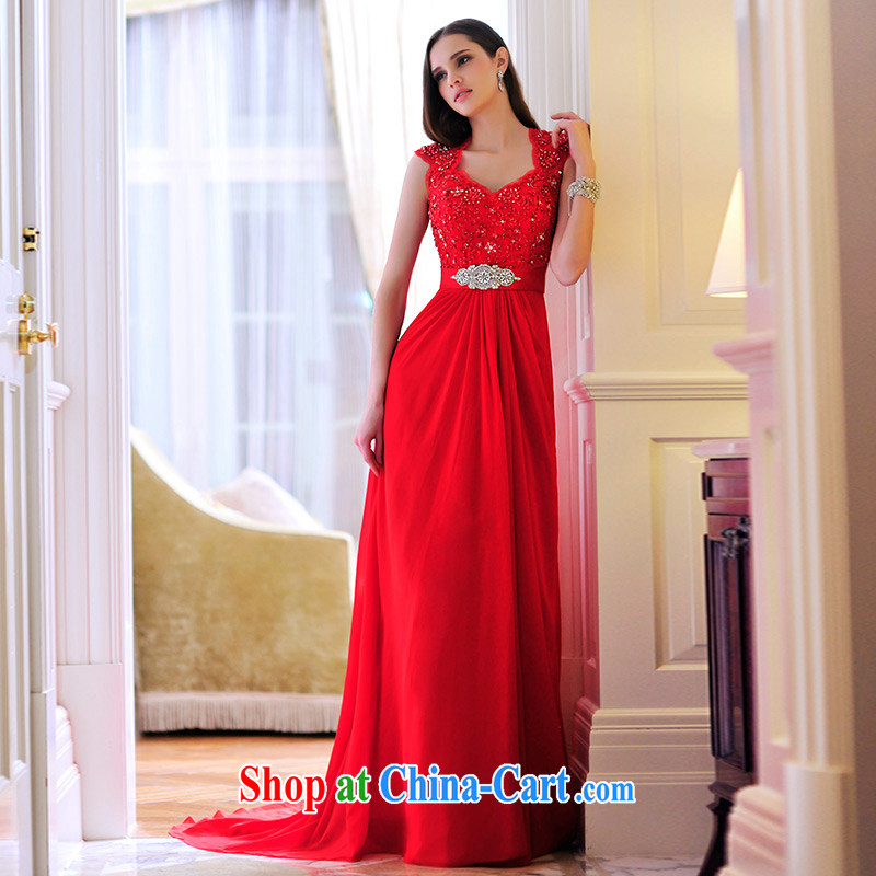 Full court, 2015 New back exposed red sum female bridal dresses serving toast dress long L 21,479 red 30CM tail tailored